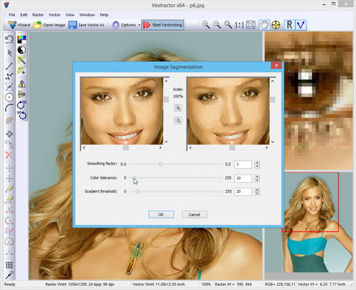 Image segmentation before vectorization