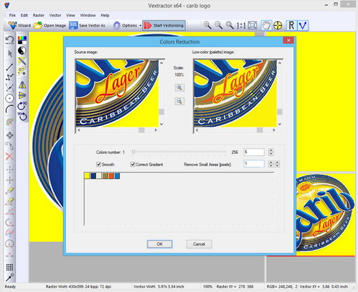Converting image to fixed color palette and vectorization
